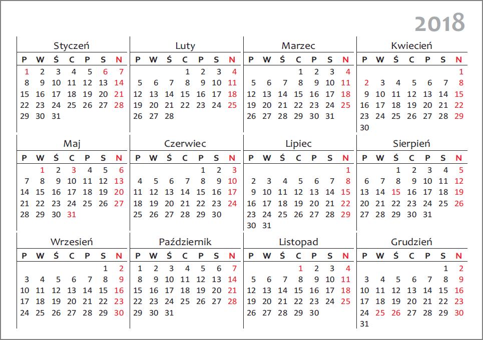 kalendarz 2018 1rok